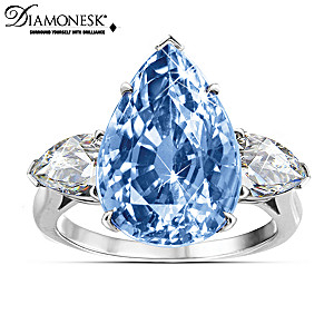"""Blue Perfection"" Sterling Silver Diamonesk Ring"