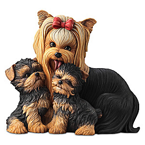 """Yorkie Kisses"" Mama And Puppies Lifelike Sculpture"