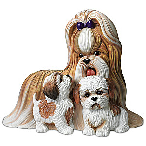 """Shih Tzus Kisses"" Mother And Puppies Lifelike Sculpture"