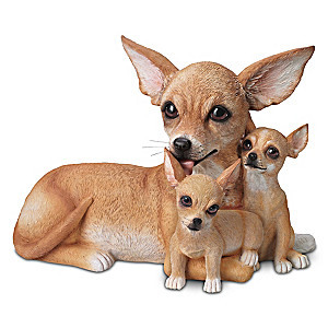 """Chihuahua Kisses"" Mama And Puppies Lifelike Sculpture"