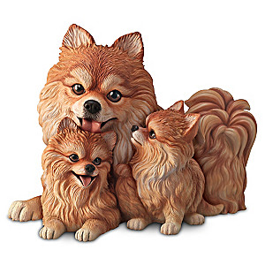 """Pomeranian Kisses"" Mama And Puppies Lifelike Sculpture"