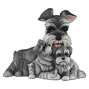 """Schnauzer Kisses"" Mama And Puppies Lifelike Sculpture"