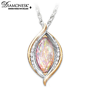 """""""World On Fire"""" Created Opal Pendant Necklace"""
