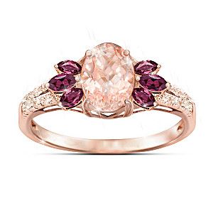 """Champagne Delight"" Morganite, Garnet And Diamond Ring"