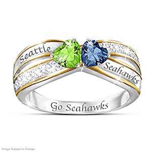 """Heart Of Seattle"" Ring With Seahawks Colored Crystals"