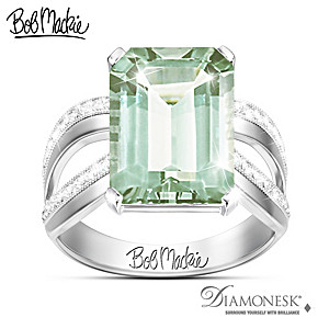 Bob Mackie Allure Green Amethyst And Simulated Diamond Ring