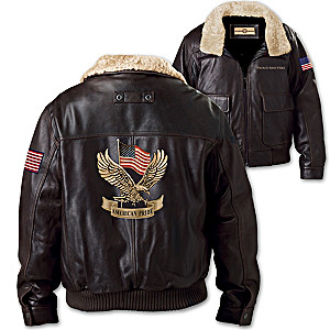 """American Pride"" Men's Brown Leather Aviator Jacket"