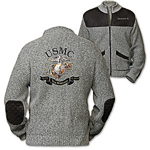 """The Few, The Proud, The Marines"" Men's Knit Sweater Jacket"