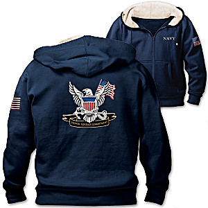 U.S. Navy Men's Hoodie With Navy Emblem And Motto