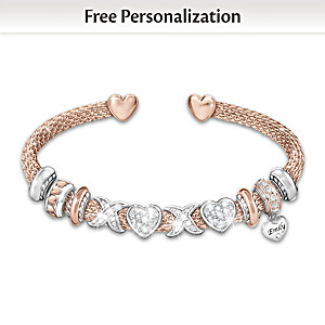 Personalized Bracelet For Daughter With Swarovski Crystals