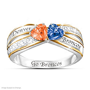 """Heart Of Denver"" Ring With Broncos Colored Crystals"