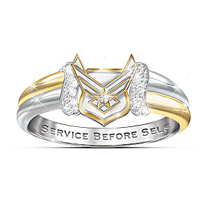 U.S. Air Force Embrace Diamond Ring With Sculpted Emblem