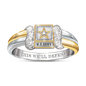 U.S. Army Diamond Embrace Ring With Sculpted Army Emblem