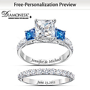 """Something Blue"" Bridal Ring Set With Personalized Engraving"