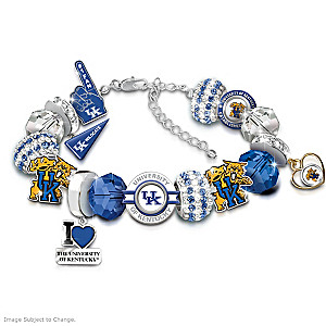 """Fashionable Fan"" Wildcats Charm Bracelet With 15 Charms"