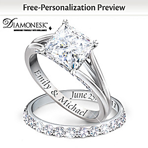 """Princess"" Platinum-Plated Bridal Ring Set With Engraving"