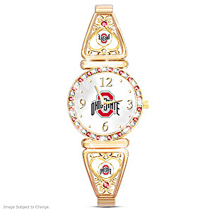 """My Buckeyes"" Team-Color Crystal Ultimate Fan Watch"