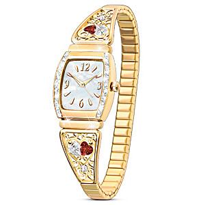 """""""Two Hearts, One Love"""" Women's Stainless Steel Stretch Watch"""