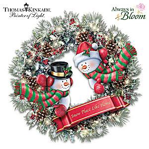 Thomas Kinkade Illuminated Always In Bloom Snowman Wreath
