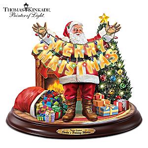 Thomas Kinkade Illuminated Santa Christmas Sculpture