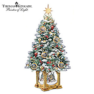 Thomas Kinkade Illuminated Musical Snowglobe Tabletop Tree