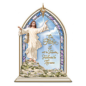 """""""The Lord's Prayer"""" Lighted Sculpture With Swarovski Crystal"""