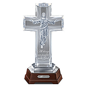 His Heavenly Grace Illuminated Glass Cross With Jesus Image