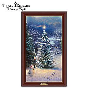 "Thomas Kinkade ""O' Christmas Tree"" Illuminated Canvas Print"