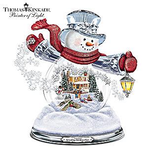 Thomas Kinkade Illuminated Musical Holiday Snowman Snowglobe