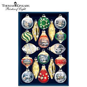 "Thomas Kinkade ""Shimmering Splendor"" 18-Piece Ornament Set"