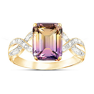 """Sunset Oasis"" Ametrine And 12-Diamond Ring"