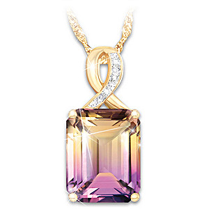 """Sunset Oasis"" Ametrine And Diamond Pendant Necklace"