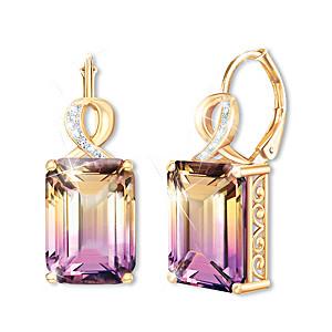 """""""Sunset Oasis"""" 3-Carat Ametrine And Diamond Earrings"""