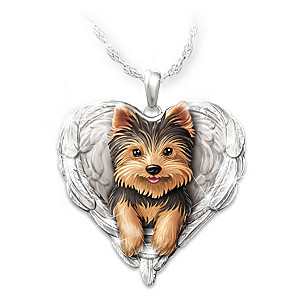 """Yorkies Are Angels"" Heart-Shaped Pendant Necklace"