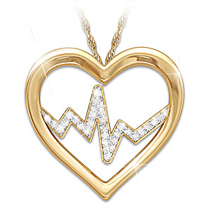 """Heart Of A Nurse"" Pendant Necklace with Swarovski Crystals"