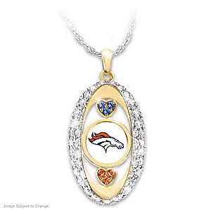 """For The Love Of The Game"" Broncos Crystal Pendant"