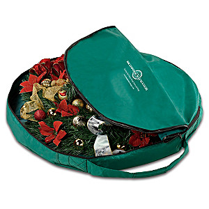 Christmas Wreath Zippered Storage Bag With Easy-Carry Handle