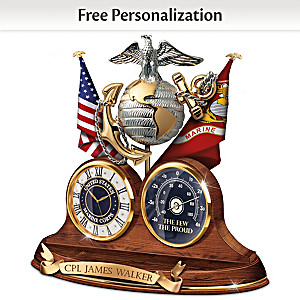"""Semper Fi"" USMC Thermometer Clock With Custom Engraving"