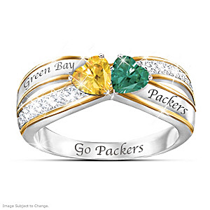 """Heart Of Green Bay"" Ring With Packers Colored Crystals"