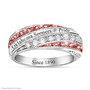 "Oklahoma ""Sooners In Vogue"" Team-Color Crystal Ring"