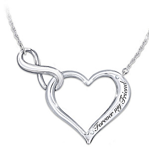 Friend Sterling Silver Necklace With Swarovski Crystals