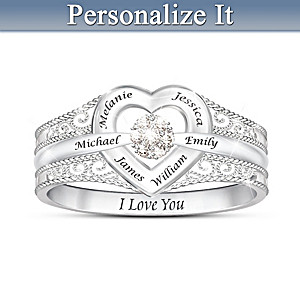 I Love My Family Diamond Ring Personalized With Family Names