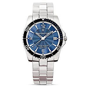 """Navigator"" Diver-Style Water Resistant Men's Watch"