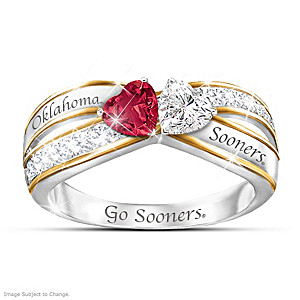 """Heart Of Oklahoma"" Sooners-Colored Crystal Ring"