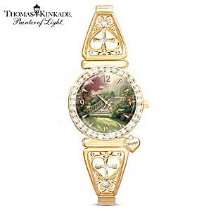 "Thomas Kinkade ""Stairway to Paradise"" Crystal Women's Watch"