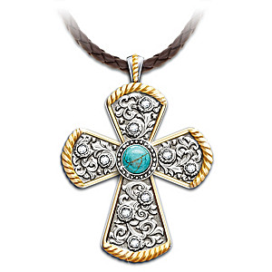 """Western Spirit"" Western-Style Turquoise Cross Necklace"