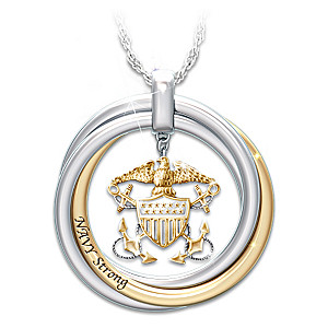 """Navy Strong"" Pendant Necklace With Engraved Rolling Rings"