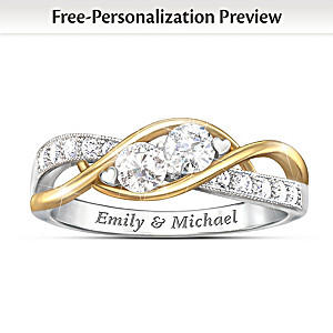 """The Two Of Us"" Personalized White Topaz Ring"