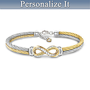 """Infinite Love"" Personalized White Topaz Engraved Bracelet"