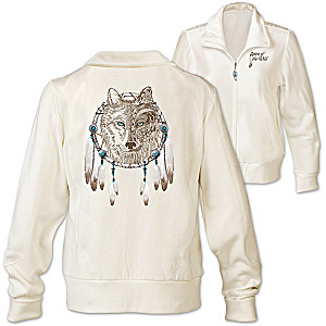 """Spirit Of The Wild"" Designer Wolf Art Women's Knit Jacket"